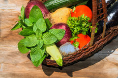 Organic food of vegetables in the basket Stock Photo