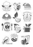 Organic food and vegetarian nutrition icon set. Healthy natural food, eco farm product symbol of fresh vegetable and fruit, chef hat, plate, fork and knife Royalty Free Stock Image