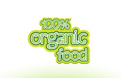 100% organic food word text logo icon typography design Royalty Free Stock Photos
