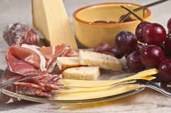 Organic foods for a french wine tasting event Royalty Free Stock Images