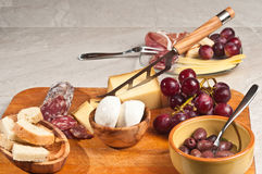 Organic foods for a french wine tasting event Stock Photos
