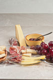 Organic foods for a french wine tasting event Royalty Free Stock Photos