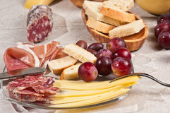Organic foods for a french wine tasting event Royalty Free Stock Photography