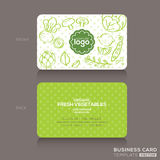 Organic foods shop or vegan cafe business card design template Stock Photography