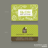 Organic foods shop or vegan cafe business card design template Royalty Free Stock Images
