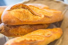 Organic french Baguette bread in basket. Fresh baked Stock Photo