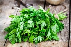 Organic fresh bunch of parsley closeup stock photo