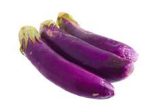 Organic Fresh eggplants isolated on white Royalty Free Stock Image