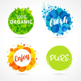 Organic, Fresh, Enjoy, Pure colored labels. Vector inscription words Organic, Fresh, Enjoy, Pure with color circle green leaf and colorful bubbles Royalty Free Stock Images