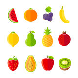 Organic fresh fruits and berries icons flat design Stock Photography