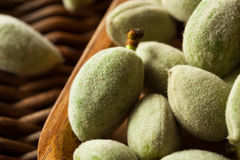 Organic Fresh Green Almonds. In a Bowl Stock Image