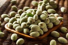 Organic Fresh Green Almonds. In a Bowl Stock Photo