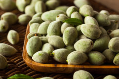 Organic Fresh Green Almonds. In a Bowl Royalty Free Stock Images