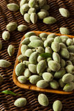 Organic Fresh Green Almonds. In a Bowl Stock Images