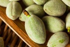 Organic Fresh Green Almonds. In a Bowl Stock Photos