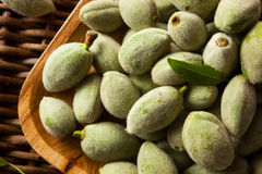 Organic Fresh Green Almonds. In a Bowl Royalty Free Stock Photos