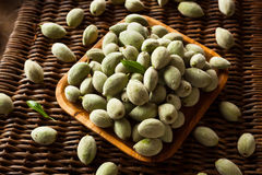 Organic Fresh Green Almonds. In a Bowl Stock Photography