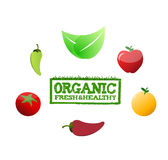 Organic fresh and healthy stamp around food Stock Photo