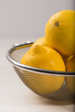 Organic, fresh lemons in a strainer, isolated, close up, vertica Stock Image