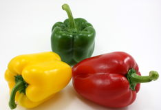 Organic fresh peppers - green, yellow, red Stock Image
