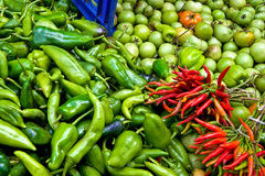 Organic Fresh Peppers, Tomatoes At A Street Market Royalty Free Stock Image
