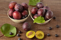 Organic fresh plums Stock Photo