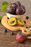 Organic fresh plums Stock Photography
