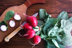 Organic fresh radish on a wooden table. Vegetables-organic-healthy Royalty Free Stock Image