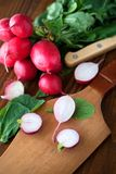 Organic fresh radish on a wooden table. Vegetables-organic-healthy Stock Images
