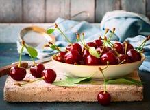 Organic sour cherry still life Stock Photo