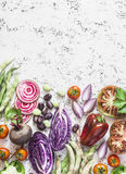 Organic fresh vegetables background. Cabbage, beets, beans, tomatoes, peppers on a light background, top view. Royalty Free Stock Photography