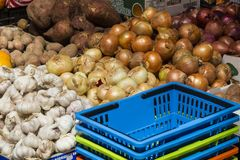 Organic fresh vegetables and fruit. Fresh fruit and vegetables, source of health Royalty Free Stock Photography