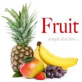 Organic fruit. Healthy Eating. Seasonal organic raw fruit. Isolated over white background royalty free stock photography
