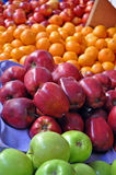 Organic Fruit Cart - Apples & Oranges Royalty Free Stock Images
