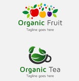 Organic Fruit Food Logos and Silhouettes Royalty Free Stock Image