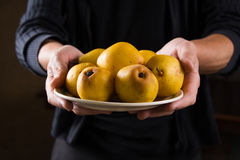 Organic fruit. Healthy food. Fresh ripe pears in farmers hands Royalty Free Stock Photo