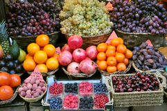 Organic fruit market in Italy. Organic fruit market in Florence,  Italy. abundance concept Royalty Free Stock Images