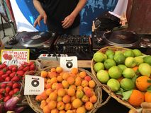 Organic fruit market in Palermo and music played by a dj Stock Photos