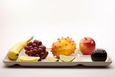 Organic Fruit on Picnic Serving Tray Royalty Free Stock Photos
