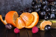 Raw Organic Fruit Platter with Berries Melons and Grapes stock photography