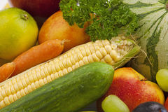 Organic fruit and vegetables Stock Images