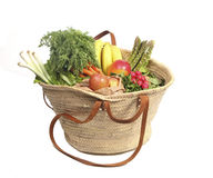 Organic fruit and vegetables in shopping bag Stock Images