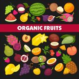 Organic fruits and berries harvest poster of fresh apple and mango or pineapple, natural pear, grape and tropical banana. Vector cherry, strawberry or figs and Stock Photography