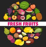 Organic fruits and berries harvest poster of fresh apple and mango or pineapple, natural pear, grape and tropical banana. Vector cherry, strawberry or figs and Royalty Free Stock Photos
