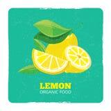Organic fruits concept - fresh lemons grunge card. Organic fruits concept - fresh yellow lemons grunge card. Vector illustration Stock Photos