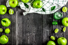 Organic fruits with green apples mock up on dark background top Stock Photo