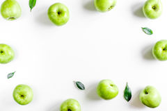 Organic fruits with green apples mock up on white background top view. Organic fruits with green apples mock up on white desk background top view Stock Image