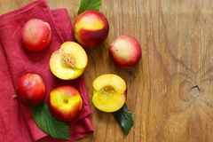 Organic fruits, ripe sweet peaches Royalty Free Stock Photos
