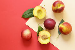Organic fruits, ripe sweet peaches Royalty Free Stock Images