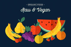 Organic fruits vegan food concept illustration Royalty Free Stock Photos